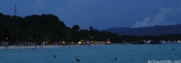 White beach after sunset