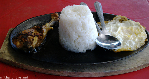 Chicken sizzler rice meal