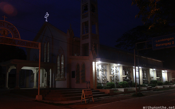 Coron church at night