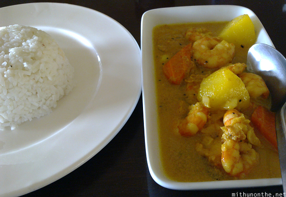 Filipino prawn curry rice Donsol