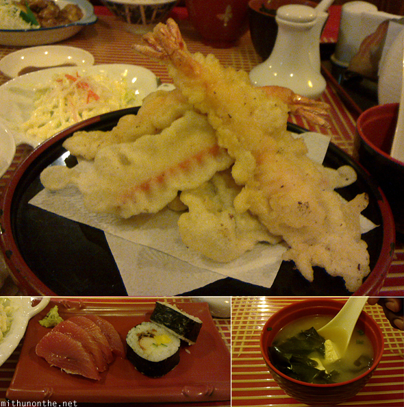Japanese food tempura sushi miso soup