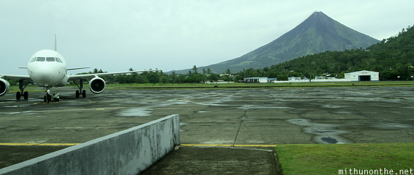 Legazpi airport Mayon volcano background