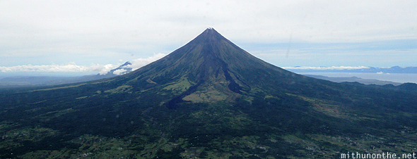 Magayon volcano full view from sky