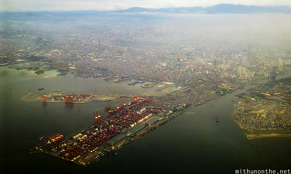 Manila port aerial view Philippines