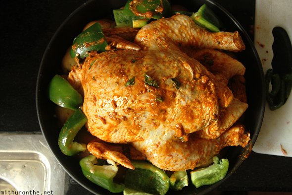 Marinated chicken ready for baking