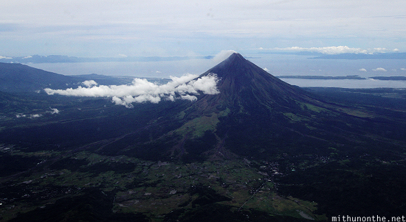 Mount Mayon aerial view from plane