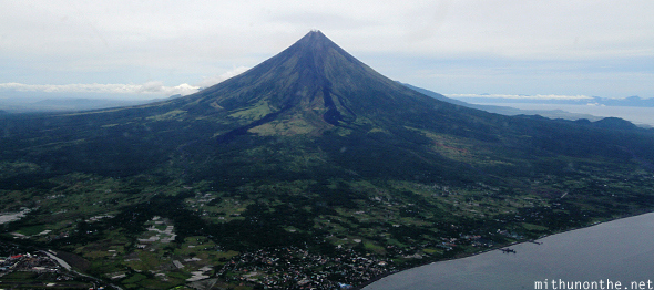 Mount Mayon volcano full view from sky