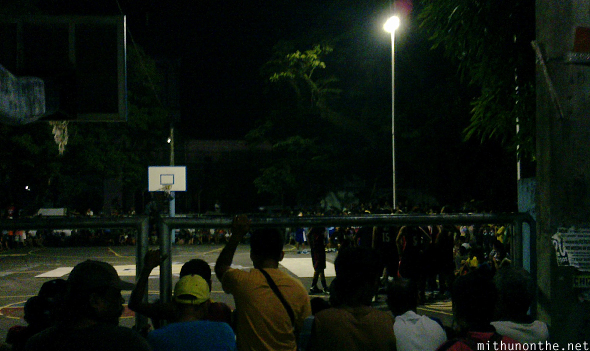 Night basketball match Legazpi