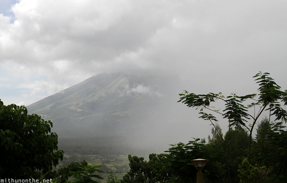 Rain clouds covering Mt. Mayon