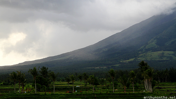 Rain clouds Mayon base Bicol Philippines