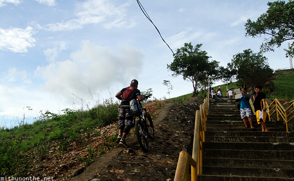 Cyclist going up Mt. Tapyas Coron Palawan