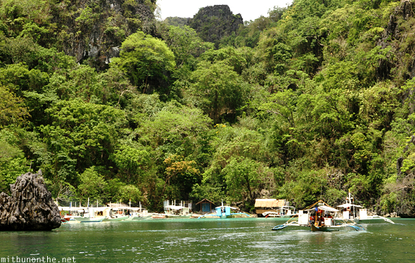 Entering twin lagoon island Coron Philippines