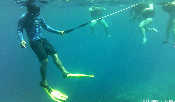 Swimming guide handle Coron snorkeling