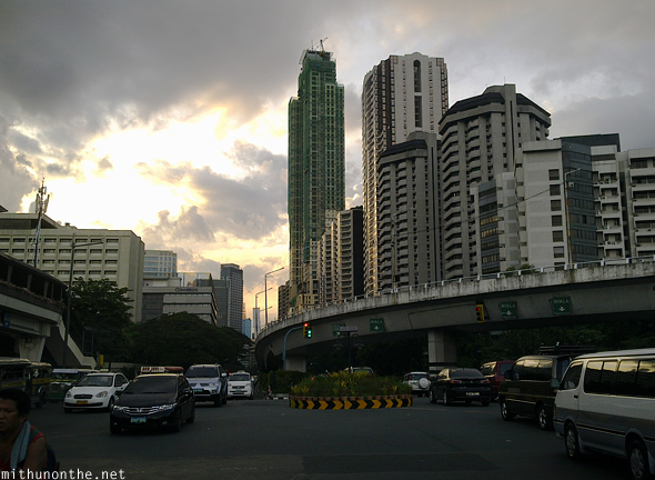 Manila city skyline evening sunset