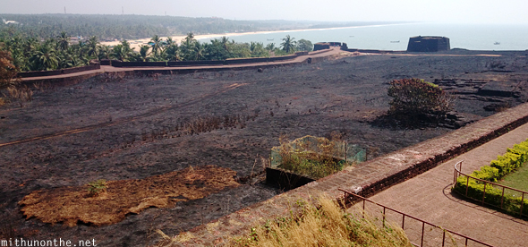 Bekal fort burnt grass Kerala