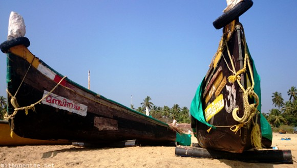 Fishing boats Bekal beach Kerala