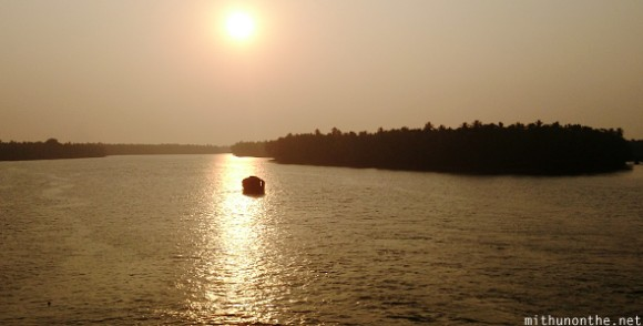 Houseboat sunset ride Kerala backwaters