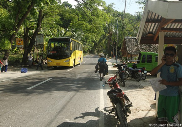 Bus stop bike taxi Oslob highway