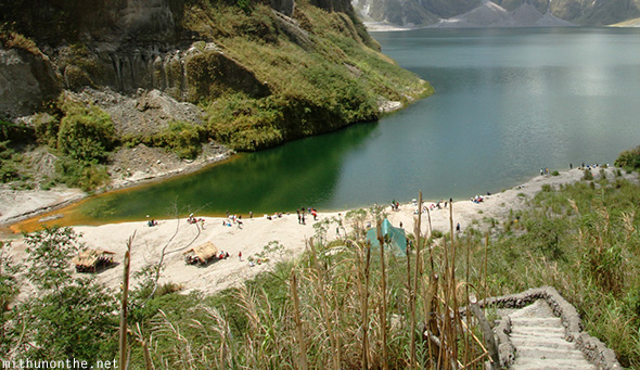 Mt. Pinatubo crater lake beach