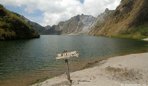 No swimming Mount Pinatubo crater lake