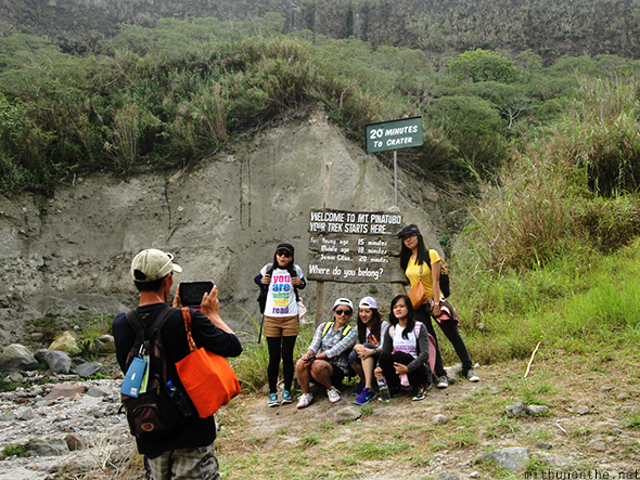 Trekkers Mount Pinatubo crater Philippines