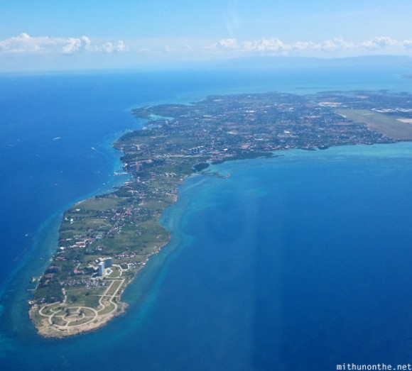 Cebu island from airplane Philippines