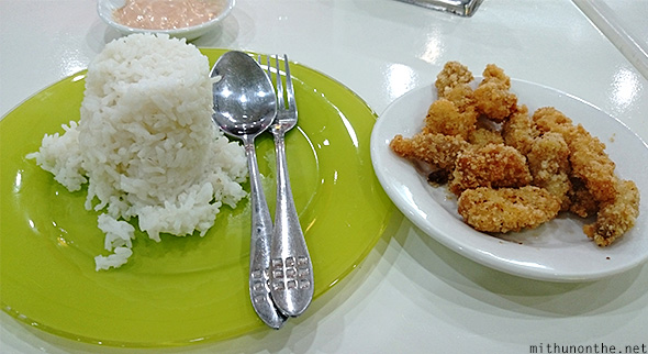 Fried fish rice meal Davao airport