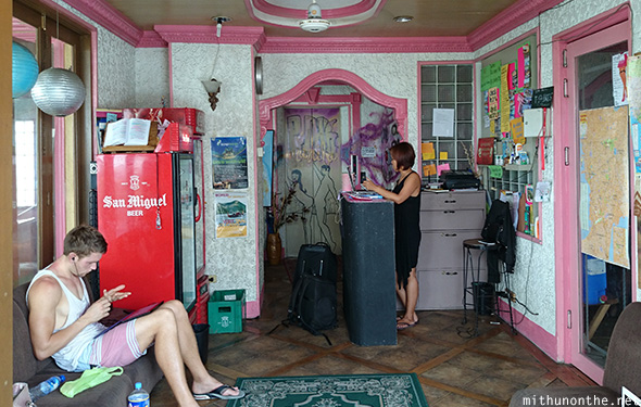 Pink Manila hostel reception Philippines
