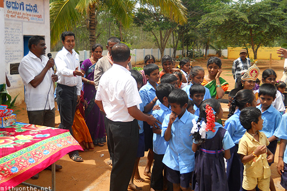 Santosh Singh with school children