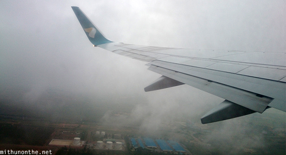 Bangalore take off foggy skies