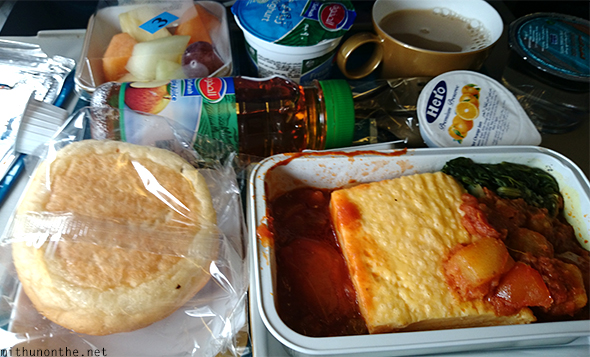 Breakfast Oman Air inflight meal