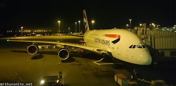 British Airways A380 HK airport