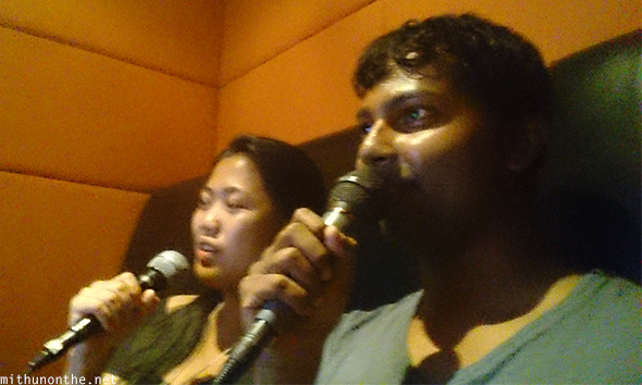 Gale Mithun singing karaoke Redbox