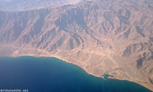 Oman coast from airplane