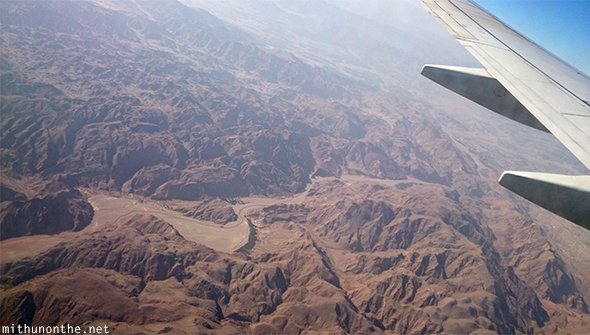Oman mountains from airplane