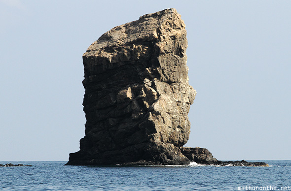 Face head-shaped rock Oman sea