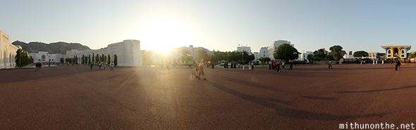 Sultan Palace parade ground Oman panorama