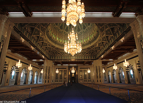Prayer hall Sultan Qaboos mosque Oman