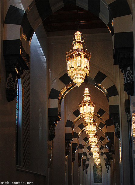 Lights Grand Mosque prayer hall Muscat