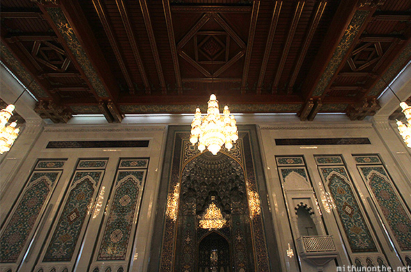 Muscat Grand Mosque wooden ceiling