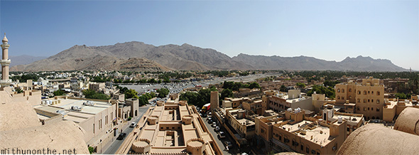 Nizwa fort panorama city view Oman
