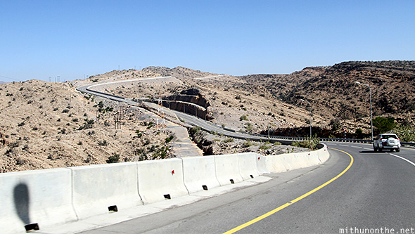 Downhill highway Jebal al Akhdar Oman