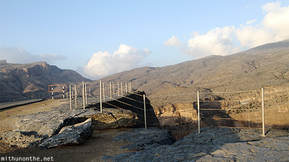 Edge fences Jebel Shams Oman