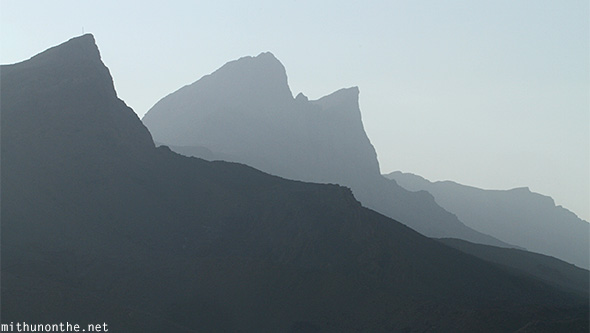 Silhouette mountains Oman