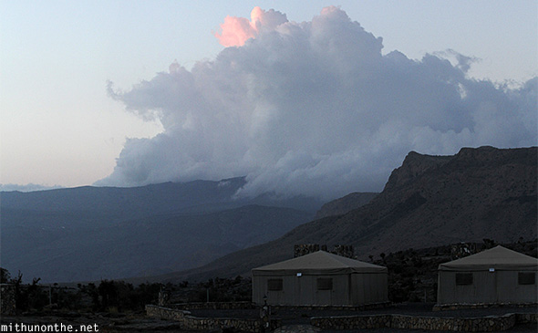 Jebel Shams Resort clouds Oman