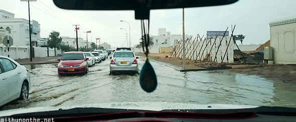 Flooded road traffic Oman