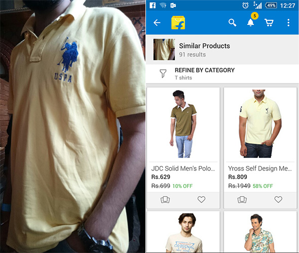Yellow polo tshirt Flipkart image search