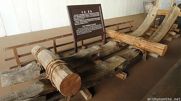 Ancient wooden sledge Kyoto Japan