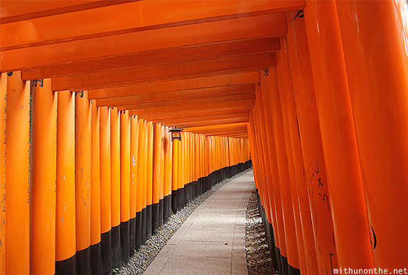 Fushimi Inari taisha wooden pillar hall