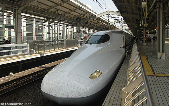 Shinkansen N700 bullet train Kyoto station